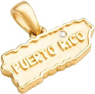 Coquí el Original 14k Solid Gold Map of Puerto Rico w/Diamond Over i