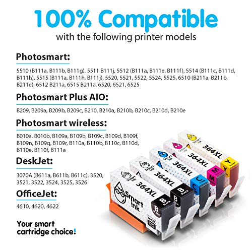 Smart Ink Reemplazo Compatible del Cartucho de Tinta HP 364 XL 364XL High Yield Pack (4BK & 2C/M/Y) para HP Photosmart 5510 5514 5515 5522 5525 6510 6520 6525 Deskjet 3520 3524 Officejet 4620 4622
