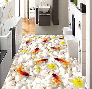Custom 3d Floor Mural Wallpaper Swimming Goldfish Pvc Self Adhesive Waterproof Living Room Bathroom 3d Flooring 200x140cm Amazon Com