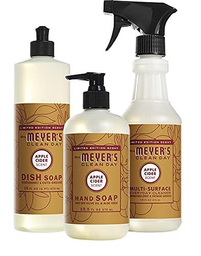 Mrs. Meyer's Clean Day Kitchen Basics Set, Apple Cider Scent, 1 Apple Cider Liquid Hand Soap, 1 Apple Cider Liquid Dish Soap & 1 Apple Cider Multi Surface Cleaner (3 CT)