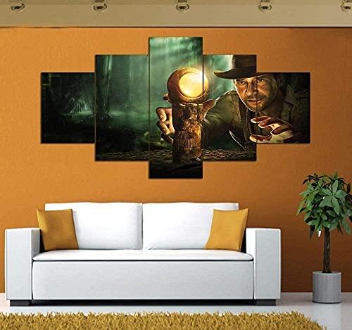 GUOJUNKE Impresiones En Lienzo Arte Impresión En HD 5 Piezas Pintura En Lienzo Carteles De Indiana Jones De Pared para Sala De Estar Decoración del Hogar