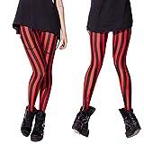 FYMNSI Leggings para mujer, verticales, elásticos, a rayas, largos, delgados, elásticos, delgados, delgados, para yoga, correr, fitness, entrenamiento, tiempo libre rojo XXXL