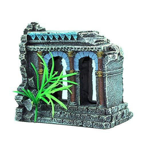 HVQY Landschaftssimulation Baufälliger Antiker Römischer Säulen Bögen Triumphbögen Aquarien Aquariumdekorationen Felsen Für Reptilien Und Amphibien Holzdeko Ornamente
