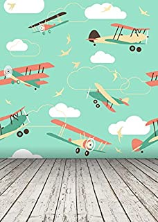 Yame 5x7ft Vinyl Digital Cartoon Plane Airplane Wood Floor Photography Studio Backdrop Background