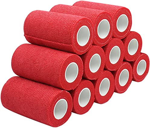 Sumedtec - Venda cohesiva de 5 cm x 4.5 m, vendas autoadhesiva para esguinces e hinchazón, Suministros Médicos de Primeros Auxilios para Protección Deportiva (Roja)