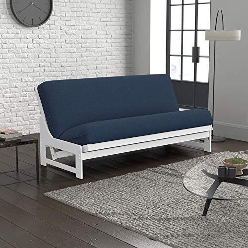 Nico Urban Loft Linen Series Sleeper Sofa Collection by Nirvana Futons - Queen Size White Armless Arden Futon Frame, Mattress and Umax Khaki Futon Cover Set