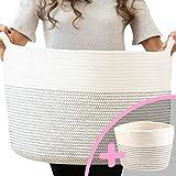 Little Hippo 2pc XXXL Large Cotton Rope Basket (22'x14') 100% Natural Cotton! Rope Basket, Woven Storage Basket, Large Basket, Blanket Basket Living Room, Toy Basket, Pillow Basket, Round Basket