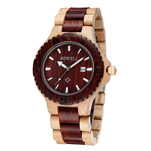 Bewell Wooden Watches for Men Women Handmade Retro Quartz Wood Wristwatch (red&maple)