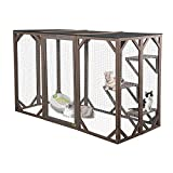 """COZIWOW 71"""" x 32"""" x 43"""" Large Wooden Catio Outdoor Cat Enclosure, Outside Cat Cage House Pet Playhouse Playpen Window Box"""