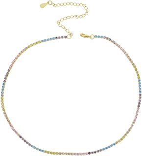 ATJMLADY Gold Plated 32+8cm Choker Thin Cz Tennis Chain Pinky White Pastel Rainbow Necklace for Women