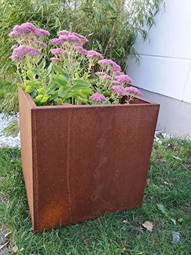 Zen Man 101619 - Maceta de acero para jardín, jardinera de metal, maceta de acero corten hecha a mano, 40 x 40 x 40 cm