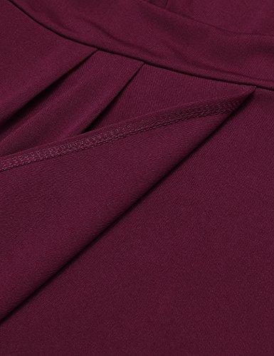 Damen Etuikleid V-Ausschnitt Wickelkleid Bleistiftkleid Ärmellos Knielang Bodycon Kleid Business Kleid mit Rüschen Weinrot - 6