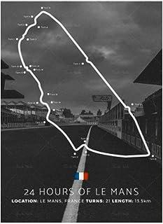 QQWER 24H Le Mans Circuit Affiche Peintures sur Toile Affiches Et Impressions Mur Art Photos Décor À La Maison -50X70Cmx1 ...