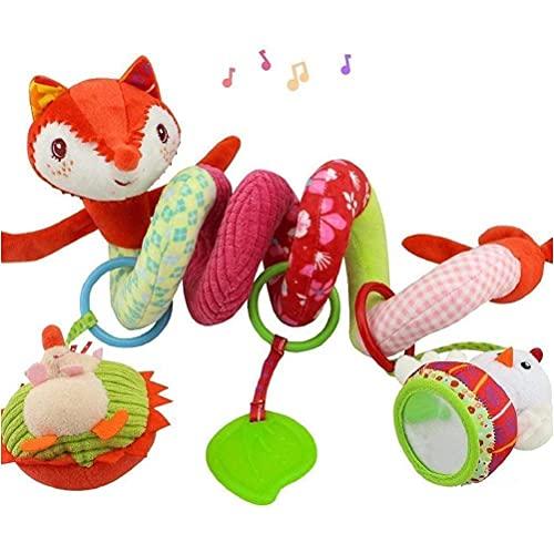 PUCHA Juguete en Espiral para Cuna de bebé, Cochecito Suave, Asiento de Coche, Juguete de Actividad con sonajero, mordedor, Espejo, Zorro, Felpa, Espiral, Campana Colgante, Juguete