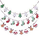 Fleymu Banderas Temáticas Navidad Papel Decoración Empavesado Colgante Banner Adornos Fiesta Oficina Calcetín Santa Claus Alces Navideño y Árbol Bandera Interiores Decor Chimenea Guirnalda (3 Piezas)