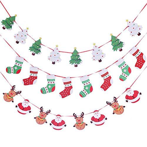 Fleymu Weihnachten DIY Girlande Banner Wimpelkette Papier Weihnachtsgirlande Weihnachtsmann Elch Weihnachtbaum Banner Partyzubehör Bunting Deko für Weihnachts Party Hängende Dekoration Indoor Outdoor