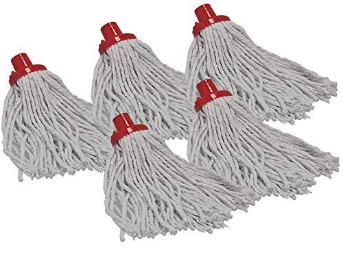 MS-Warenvertrieb 5 Stück Wischmopp Baumwolle 145 Gramm Rot Ersatzmop wischen putzen Ersatzkopf