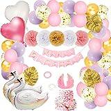 Herefun Decoration Anniversaire Fille Deco, Ballon Cygne Anniversaire Bannière Guirlande Ballons, Cygne Decoration Anniversaire, Ballons Roses et Pompons Papier, Déco Anniversaire Fête Enfant