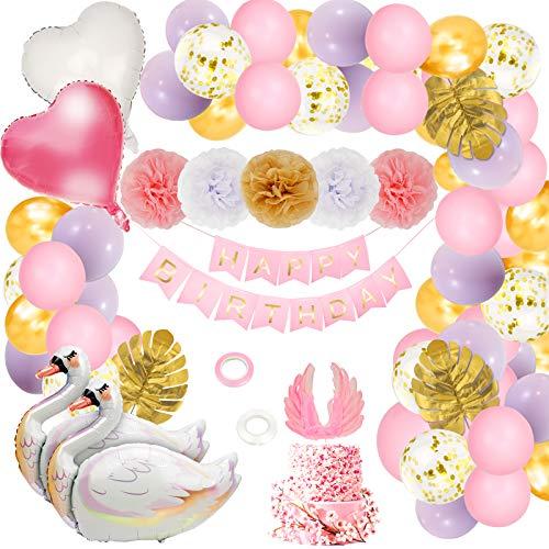 Herefun Decoración de Cumpleaños para Niña, Decoraciones de Fiesta de Cumpleaños Globo de Cisne para Niña, Pancarta de Feliz Cumpleaños, Globos de Látex Rosa Feliz Cumpleaños