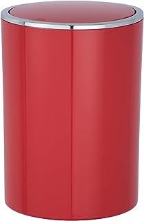 WENKO Petite Poubelle Salle de Bain, Poubelle à Couvercle, 5L, Inca, Rouge, Plastique haut de gamme, Ø 18,5 x 25,5 cm