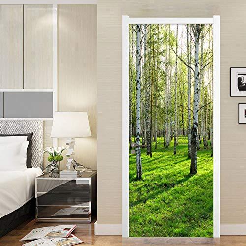 NSDX Türtapete Selbstklebend Foto Wallpaper Modern Einfache 3D Stereo Birkenwald Wandbild Aufkleber Wohnzimmer Schlafzimmer Home Decor PVC Wasserdichtes Tapeten