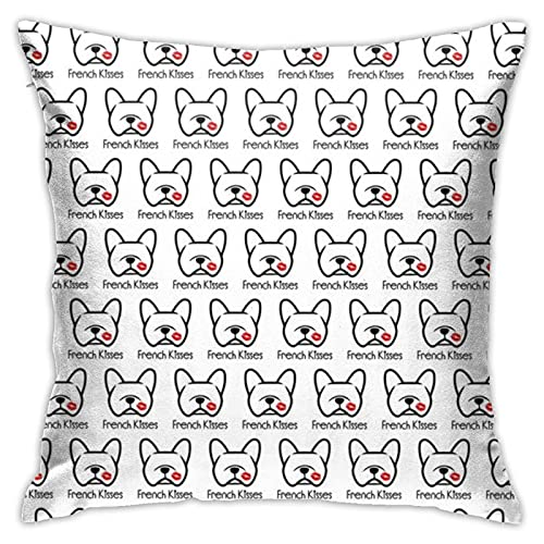 French Bulldog Kisses Pucker Up Frenchie Dog Love! Throw Pillow Case Square Cushion Cover for Home Sofa Bedroom Living Room Outdoor Garden Car Decorative 18'X18'