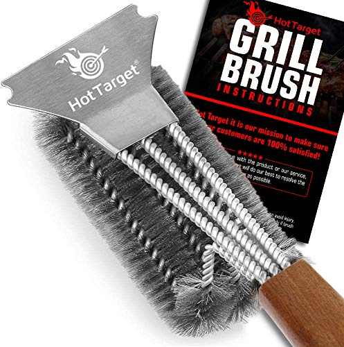 "HOT TARGET Grill Brush and Scraper with Safe 18"" Extended, Large Wooden Handle and Stainless-Steel Bristles – No Scratch Cleaning for Any Grill: Char Broil & Ceramic"