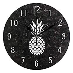 ALAZA Home Decor Cartoon White Pineapple Fruit 9.5 inch Round Acrylic Wall Clock Non Ticking Silent Clock Art for Living Room Kitchen Bedroom