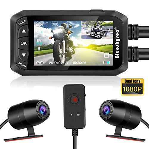 Blueskysea DashCam - Cámara de vídeo para moto 1080P, doble lente de 2,7 pulgadas, LCD delantero/trasero DVR impermeable con sensor G, grabación en bucle GPS, visión nocturna