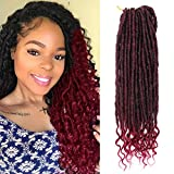 20 Inch Goddess Locs Crochet Hair Straight Faux Locs Braids Hair with Curly Ends Ombre Burgundy Synthetic Goddess Locs Hair Extensions(T1B/Bug#)