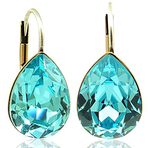 Ohrringe Türkis Gold mit Kristallen von Swarovski® NOBEL SCHMUCK