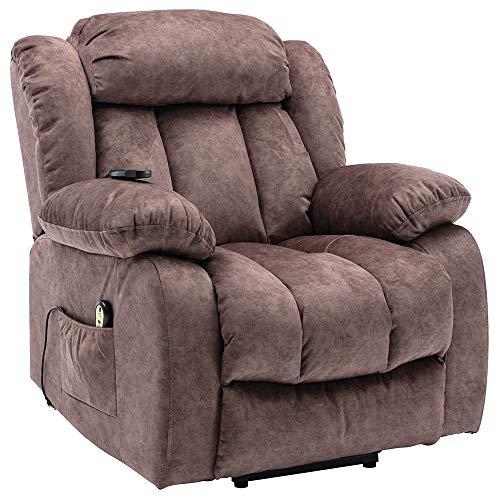 Power Massage Lift Recliner Chair with Heat & Vibration for Elderly, Velvet Padded Ergonomic Comfort Electric Power Lift Recliner Chair Sofa with Side Pockets,Remote Control【UK STOCK】