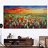 Abstract Wild Red Flower Poppies Landscape Oil Painting on Canvas Posters and Prints Cuadros Wall Art Pictures For Living Room 35x70 CM (sin marco)