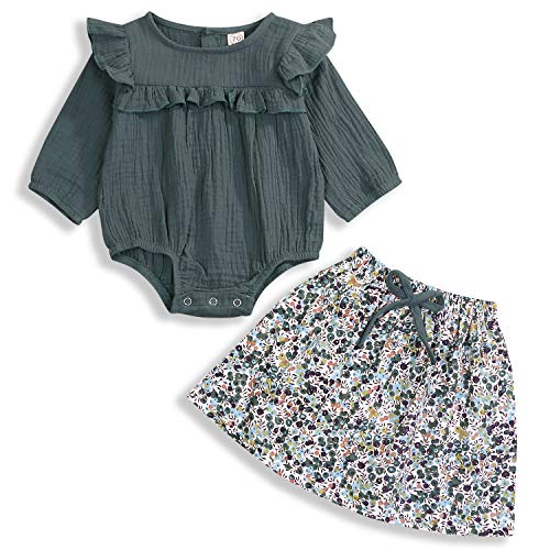 Toddler Newborn Baby Girls Clothes Set Long Sleeve Fall Skirt Sets Solid Romper + Floral Skirts Infant Outfits 2Pcs (Green, 18-24 Months)