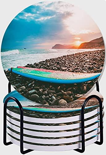 GUVICINIR Juego de 6 Posavasos de cerámica Absorbente con Base de Corcho,Apto para Tipos de Tazas,Tabla de Surf en una Playa de Piedras con Colores del Atardecer o del Amanecer y Olas en el océano