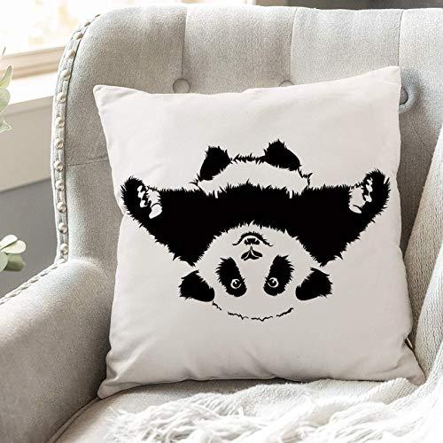 Fundas de Cojines 45x45 cm Funda de Almohada para Decoracion Sofá,Panda, Panda divertido quiere abrazar y a,Poliéster Moderna con Cremallera Invisible Funda de Cojin Decorativa para Cama Hogar, Coche