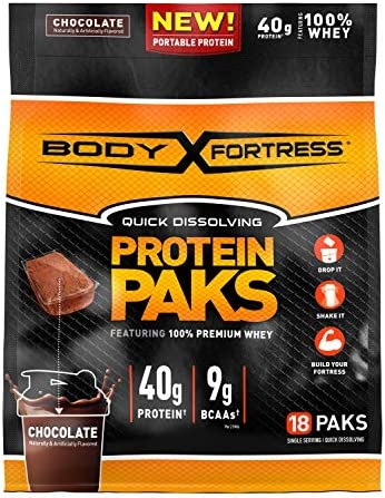 Fortress Whey Protein On the Go Chocolate 18 Little Packs Total Weight 18 oz product image
