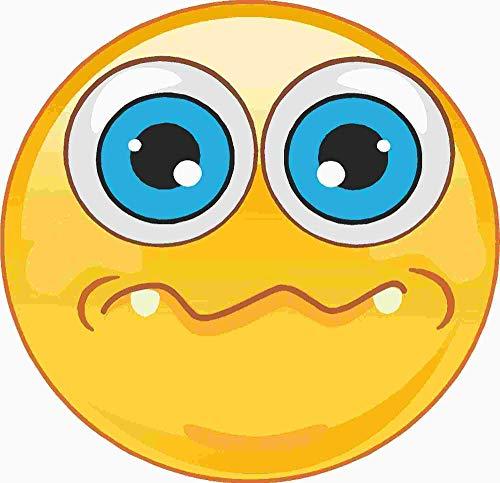 kleberio Aufkleber Emoji Smiley ängstlich mit großen blauen Augen Sticker Auto Motorrad Caravan wetterfest 10 x 10 cm