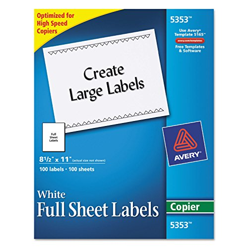 Avery 5353 Copier Label, Full Sheet, 8-1/2-Inch x11-Inch, 100/BX, White