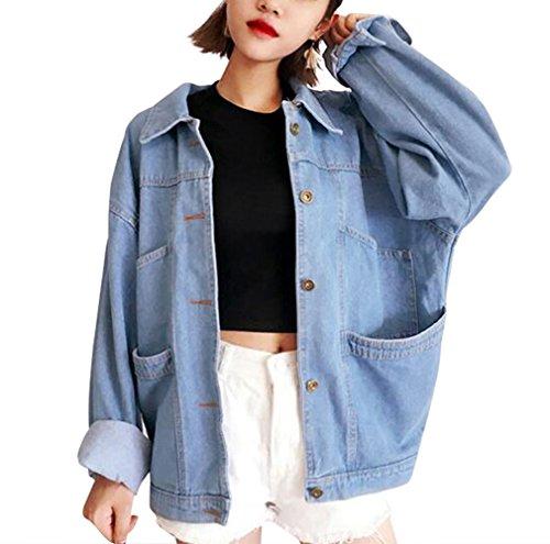 BININBOX® Damen Mädchen Denim Jacke Jeansjacke BF Lose Jeans Mantel Coat Outwear (Hersteller Gr.XL)