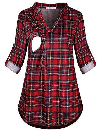 JOYMOM Baby Nursing Shirt,Womens Trendy Aline Shirttail Plaid Breastfeeding Tops Matertnity Fit Great 3 4 Roll Up Long Sleeve Layered Feeding Blouses Daily Wear Red Black X-Large