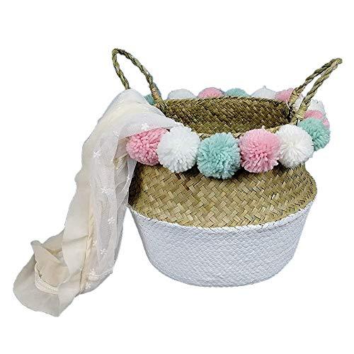 SZETOSY Aufbewahrungskorb aus nat¨¹rlichem Seegras, gewebter Korb, Weiß Basket&Colorful Pom
