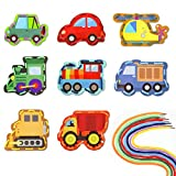 Zonon 8 Pieces Traffic Theme Lacing Cards Transportation Sewing Cards...