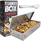 TuhooMall Stainless Steel Smoker Box for Gas Grill or Charcoal Grill, BBQ Wood Smoker Chip Box with Hinged Lid for Easy Access - Grilling Accessories with Tongs