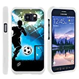 Compatible with Samsung Galaxy S6 Active Case | G890 [Slim Duo] Fitted 2 Piece Hard Snap On Case on White Sports and Games by TurtleArmor - Soccer Player Graphic