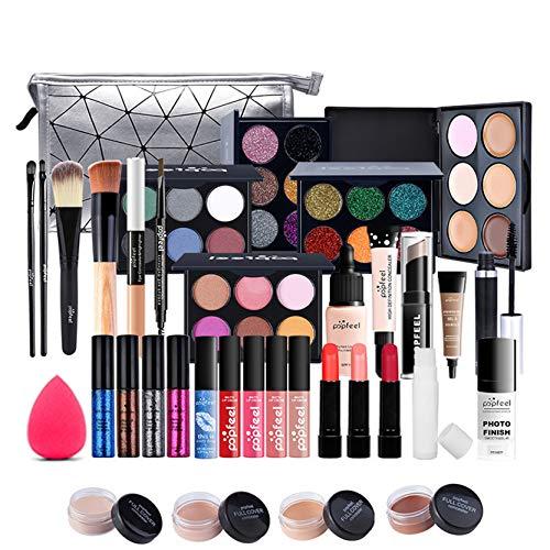 LEAMALLS 37 Piezas Estuches Juego de Maquillaje Completo Kit de Cosmético todo en uno Regalo Maquillaje Sombra de Ojos Paleta para Ojos Labios y Rostro Professional Makeup