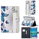 UGOcase Universal 7,5 - 8,5 Zoll Tablet-Hülle, PU-Leder, Folio Ständer Karten Tasche Wallet Hülle für Fire HD 8, iPad Mini, Galaxy Tab A 8 Zoll, Lenovo, iOS Android 8 Zoll Tablet, Blau Schmetterling