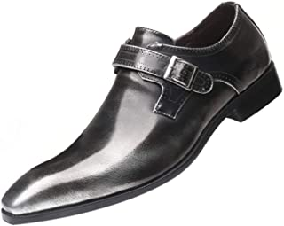 Fulision Men's Leather Shoes Low Cut Pointed Solid Color Leather Shoes Buckle Low-Heeled Shoes Large Size Men's Shoes
