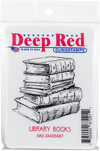 Deep Red Stamps Library Books Cling Stamp, Multicolor
