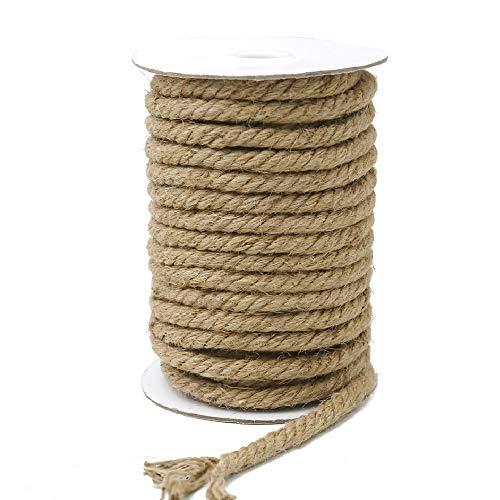 KINGLAKE Cuerda de yute gruesa de 15 m, cuerda de cáñamo de 10 mm, cuerda de yute gruesa para envolver, decoración del hogar, jardinería